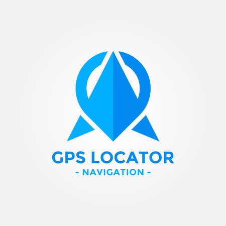 Gps locator logo design template. Gps map location and direction icon vector combination. Direct business arrow logo symbol concept.