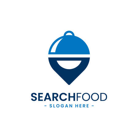 Search food logo design template. Food point icon vector. Find restaurant symbol concept.