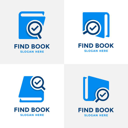 Set of find book logo design template. Book icon with magnifying glass combination. Review search symbol. Concept of analysing, correcting, evaluating, surveying, etc.