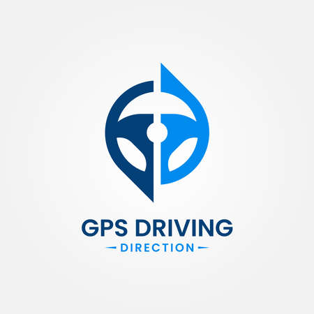 Drive point logo design template. Steering wheel and gps map location icon vector combination. Creative steer spot symbol concept.