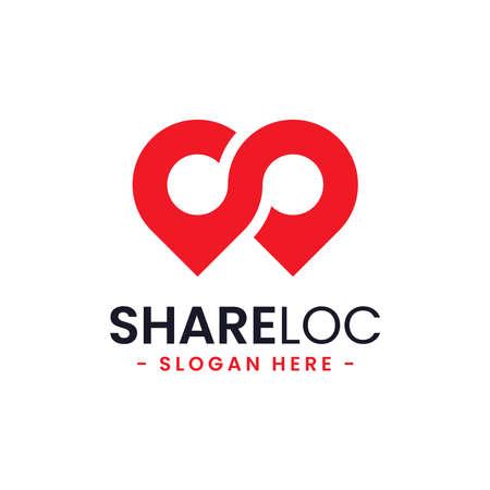 Share location logo design template. Map pointer icon vector. Creative pin share symbol concept.