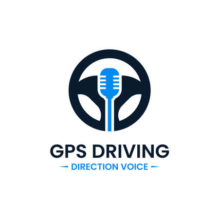 Voice gps drive point logo design template. Steering wheel, gps map location and voice icon vector combination. Creative driving training symbol concept.