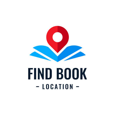 Book point logo design template. Education icon with pin combination. Concept of bookstore pointer symbol, library, school, university, etc.
