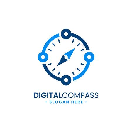 Digital compass logo design template. Illustration symbol concept for mobile app, web, media, etc.