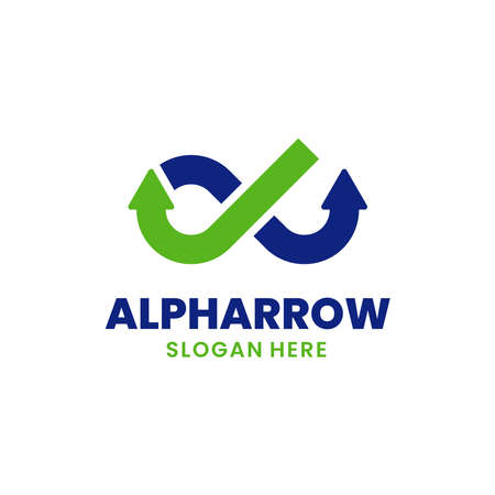 Alpha Arrow Logo Template Design. Creative growth logo and finance concept.