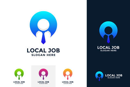 Local job logo design template. Find person logo concept with combined of people and pin symbol.