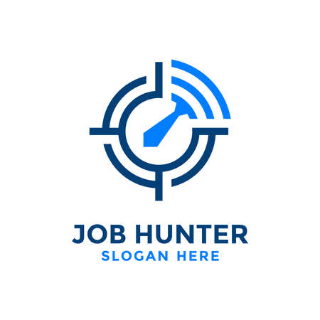 Job hunter logo design template.Creative concept of find job vector illustration