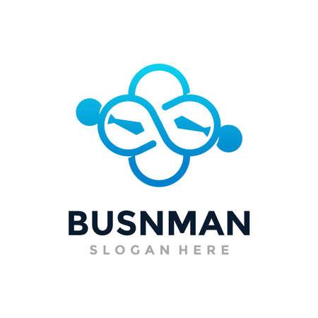 Business Man Logo Template Design. Infinite teamwork vector illustration