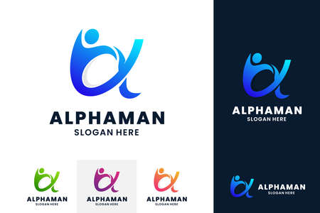 Alpha logo with human vector illustration. Creative growth logo, marketing, success and health concept.