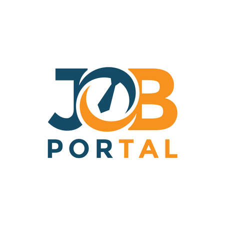 Job portal lettering logo design template. Concept of professional employee recruitment agency logo vector
