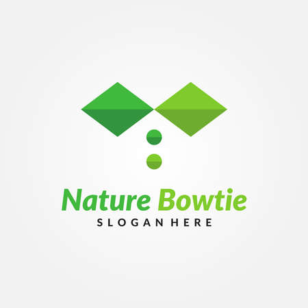 Nature Bow Tie Logo Design Template. Plant, leaf and tree business vector symbol. Creative logo concept for nature corporate
