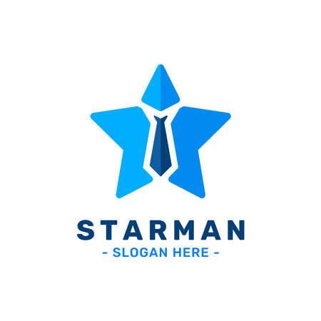 Star man logo design template. Tie and star logo combination. Concept of success, innovation, idea, growth, etc.