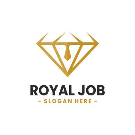 Royal Job logo design template. Vector illustration of diamond combined with tie shape. Vettoriali