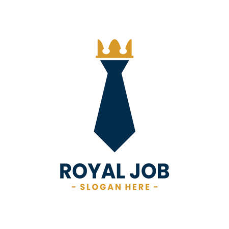 Royal Job logo design template. Vector illustration of crown combined with tie shape.