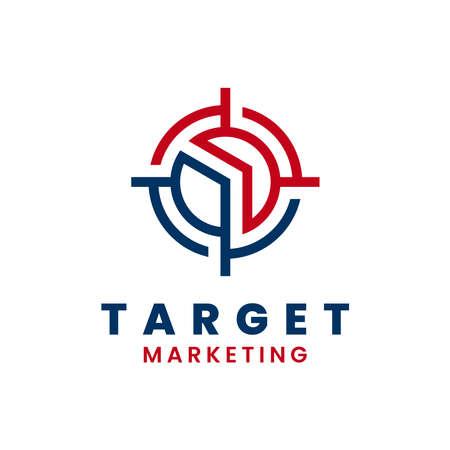 Target arrow logo template design. Marketing logo. Growth and success concept. Vettoriali