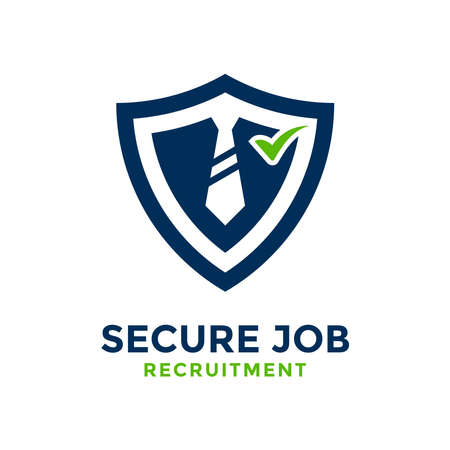 Secure job logo design template. With concept of guard shape combined with business tie.