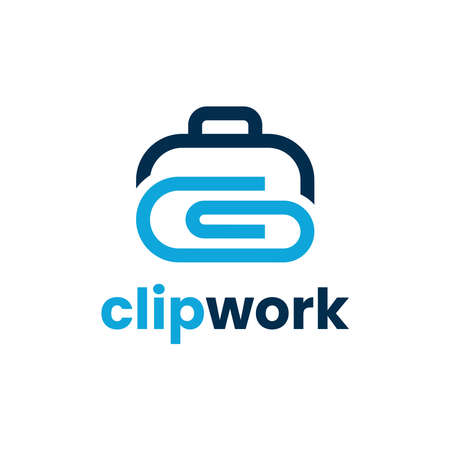 Clip work logo design template. Vector illustration