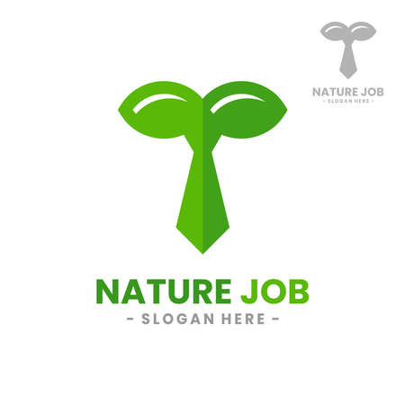 Nature Job logo design template. Vector illustration of leaf combined with tie shape.