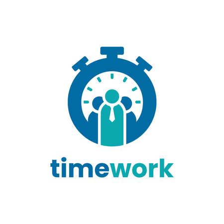 Time work logo design template. Success time management icon vector illustration. With concept of businessman and time shape combination.