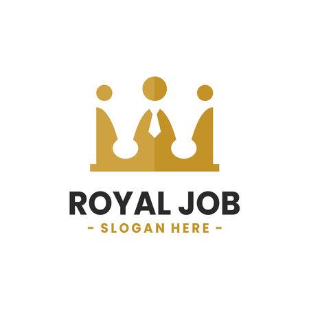 Royal Job logo design template. Crown with people logo combination. Concept of teamwork, social, network, leadership, etc.