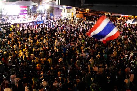 Protesters night meeting at Bangkok, Thailand