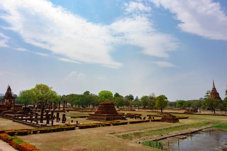Landscape in Sukhothai Historical Park at Thailand Stock Photo