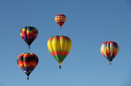 A group of colorful hot air balloons against a blue sky  Taken at the Albuquerque Balloon Fiesta in New Mexico photo