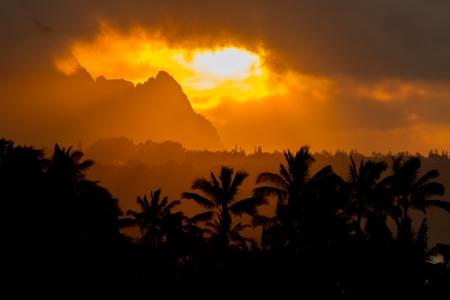 카우아이에서 찍은 전경 발리 하이, 코코넛 나무 근처에 극적인 저녁 오렌지 빛