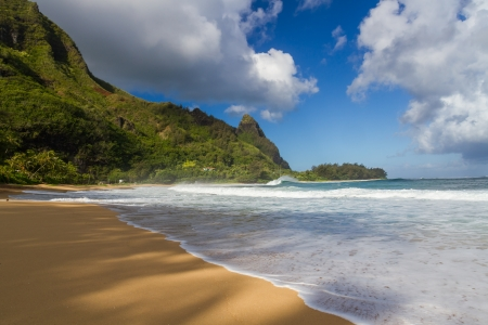 Tunnels beach at Kauai with Bali Hai in the background photo