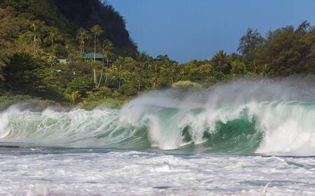 Big wave and rough ocean at Tunnels beach at Kauai
