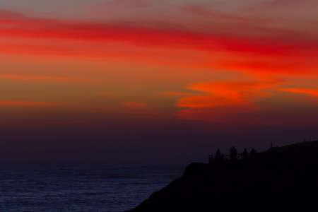 산타 크루즈, 캘리포니아 근처 태평양에서 화려한 일몰