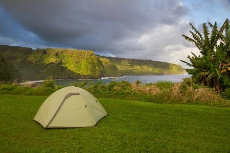 Camping along Hana coastline in Maui, Hawaii