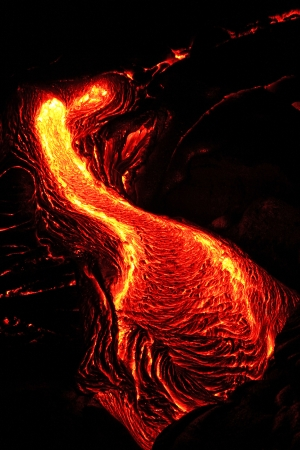erupting: Red Hot Lava Flow at the Big Island of Hawaii