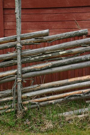 Detail of traditional wooden fence, Sweden photo