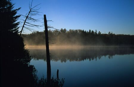Morning fog on pond, Green Mountains, Vermont 写真素材
