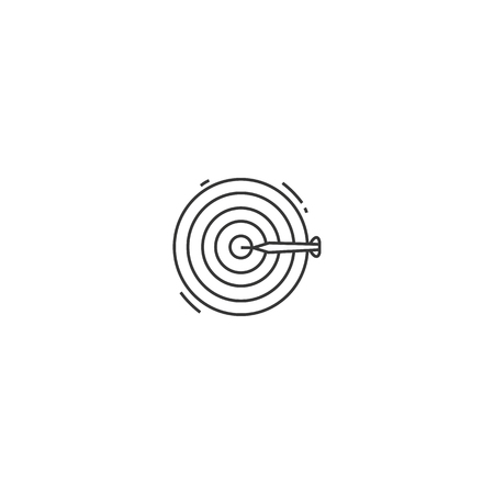 Dart Board icon on white background. Modern flat symbol for web site and app design. Editable stroke