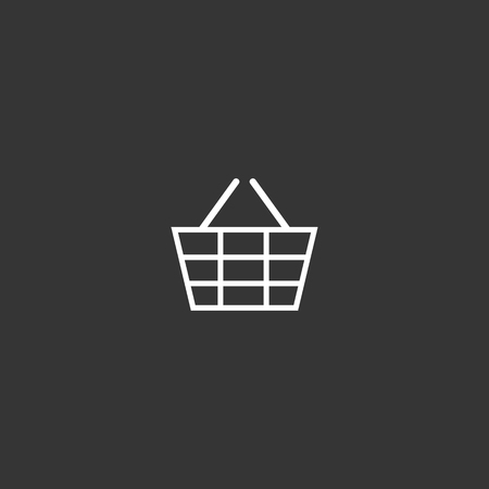 Outline Market Basket Icon isolated on grey background. Modern simple flat symbol for web site design, app, UI. Editable stroke  イラスト・ベクター素材