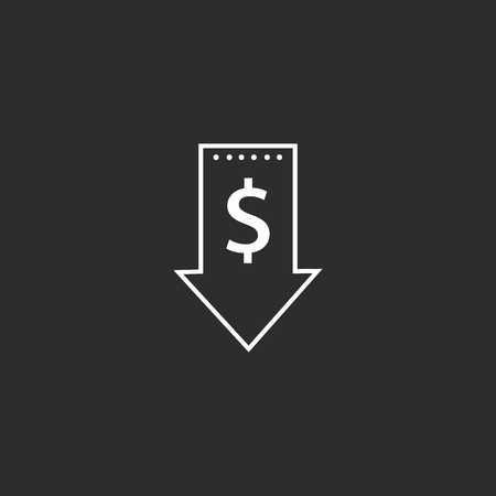 Outline Low Price Icon isolated on grey background. Modern simple flat symbol for web site design, app, UI. Editable stroke.