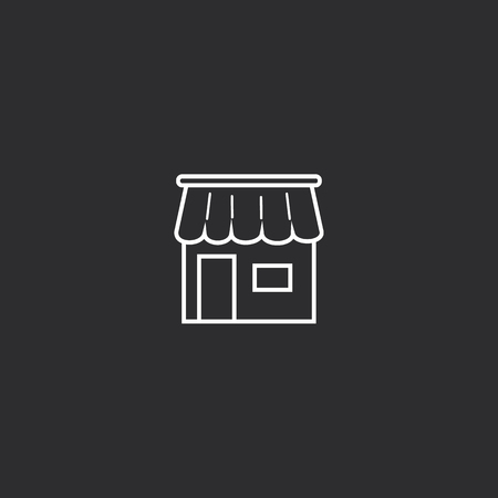 Outline Shop Icon isolated on grey background. Modern simple flat symbol for web site design, app, UI. Editable stroke