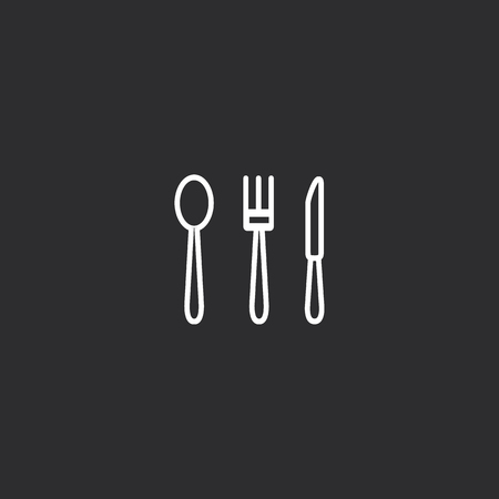 Outline Cutlery Icon isolated on grey background. Modern simple flat symbol for web site design, app, UI. Editable stroke  イラスト・ベクター素材