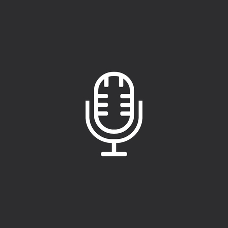 Outline Microphone Icon isolated on grey background. Modern simple flat symbol for web site design, app, UI.  イラスト・ベクター素材