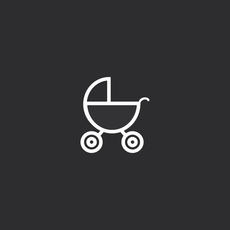 Outline Baby Stroller Icon isolated on grey background. Modern simple flat symbol for web site design, app, UI. Editable stroke.
