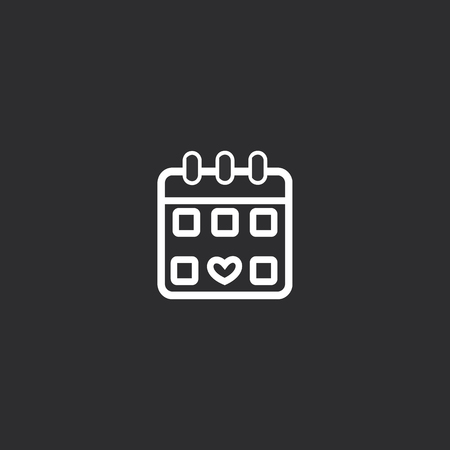 Outline Calendar Icon isolated on grey background. Modern simple flat symbol for web site design, app, UI. Editable stroke.  イラスト・ベクター素材