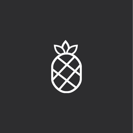 Outline Big Pineapple Icon isolated on grey background. Modern simple flat symbol for web site design, app, UI. Editable stroke
