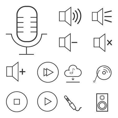 linear sound and volume icon set.