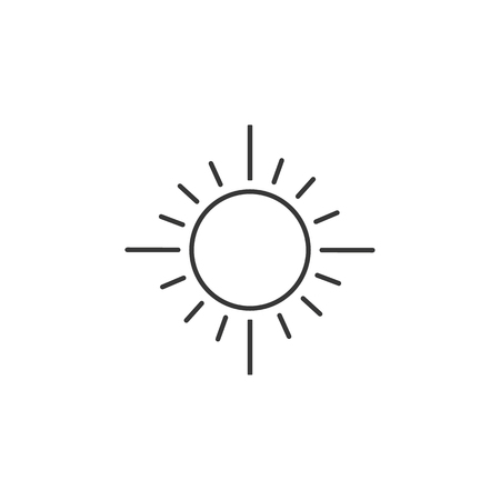 Sun line icon, outline vector sign, linear style pictogram isolated on white. Sunny weather symbol  イラスト・ベクター素材