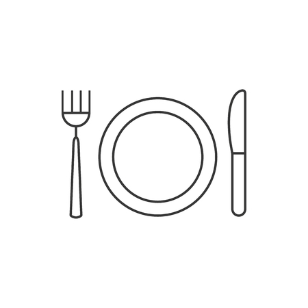 Dish, fork, knife line icon, outline vector sign, linear style pictogram isolated on white. Food symbol, illustration. Editable stroke.  イラスト・ベクター素材