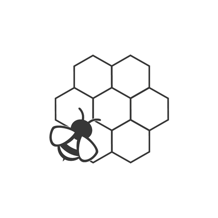 thin line honeycomb and bee  イラスト・ベクター素材