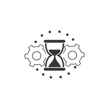 efficiency, time management, icon with sandglass and cogwheels vektor  イラスト・ベクター素材