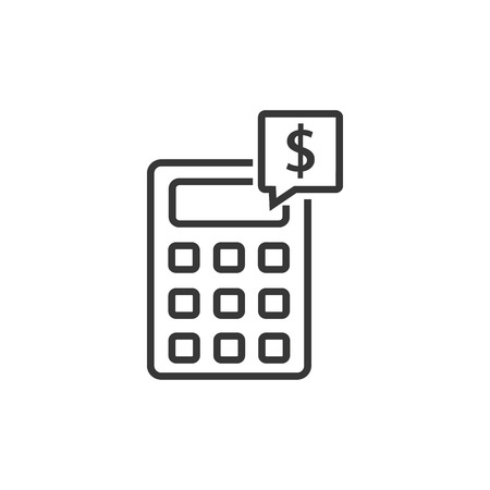 Calculator line icon. Accounting sign. Calculate finance symbol. Quality design element. Classic style. Editable stroke.